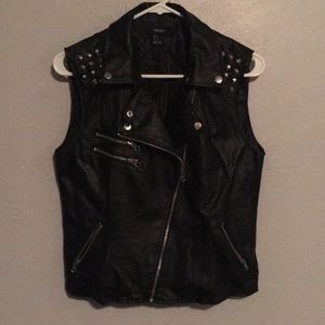 Faux Leather Studded Vest w/ Zippers